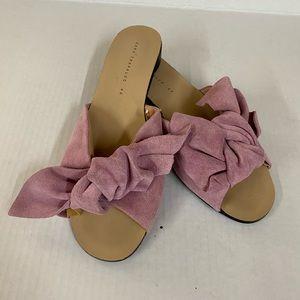 Zara Trafaluc Pink Suede Bow Slides